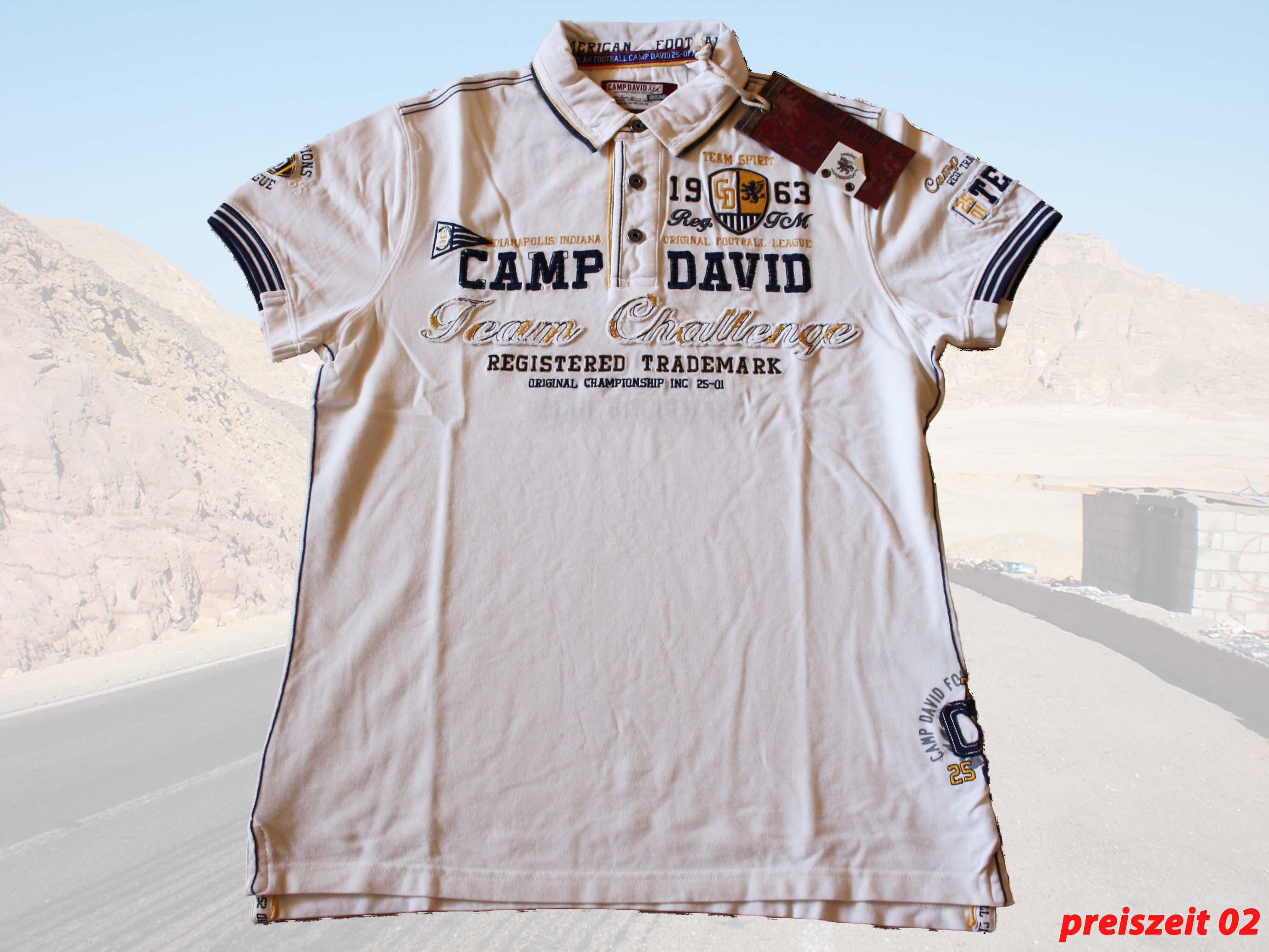 camp david top poloshirt american football ii farbe ivory gr e l xxl ebay. Black Bedroom Furniture Sets. Home Design Ideas