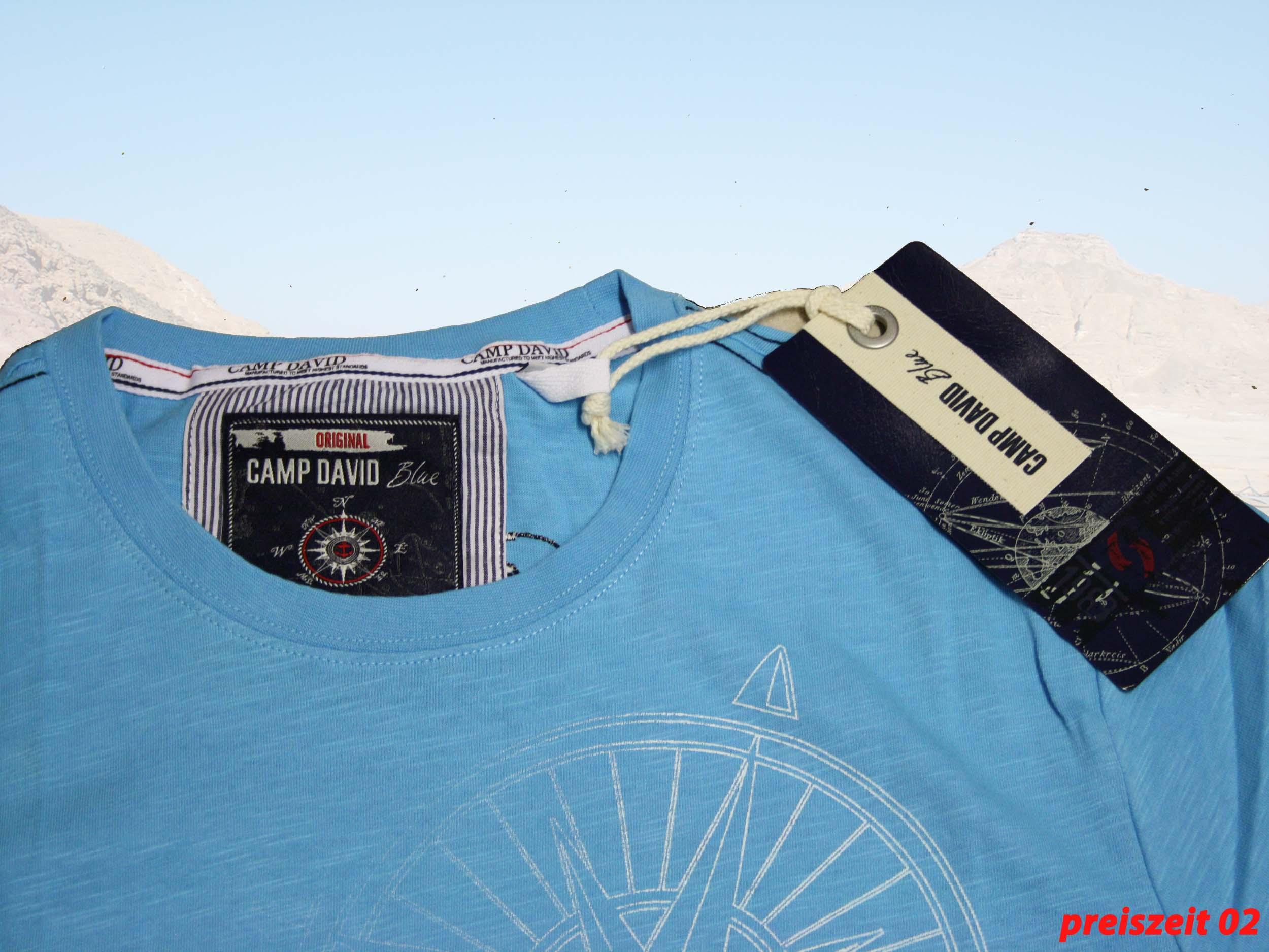 camp david t shirt soma bay farbe atlantic blue gr e l xxl ebay. Black Bedroom Furniture Sets. Home Design Ideas
