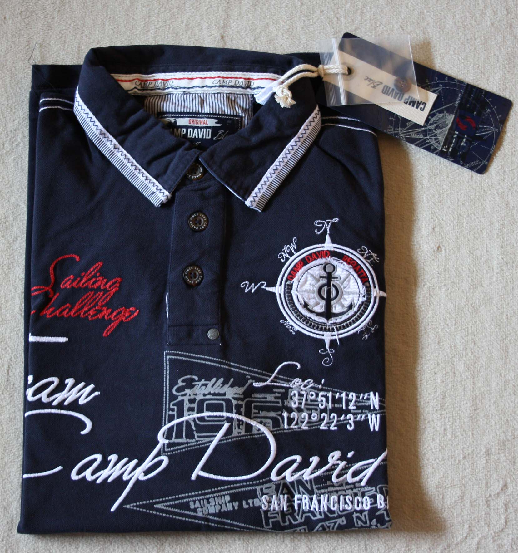 camp david poloshirt sailing cup iii farbe dark blue gr e l xxl ebay. Black Bedroom Furniture Sets. Home Design Ideas